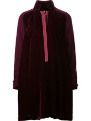 Sacai Velvet And Knit Dress Red