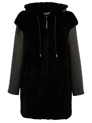 Marni Hooded Rabbit Fur Coat Black