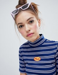 Lazy Oaf High Neck Fitted Cheese T Shirt Blue Stripe