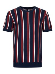 Topman Red Blue And White Stripe Knitted T Shirt