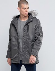 Selected Homme Parka Jacket With Faux Fur Hood Grey Green