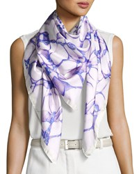 Anna Coroneo Silk Satin Square Water Scarf Blue Purple