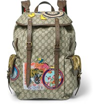 Gucci Leather Trimmed Appliqued Monogrammed Coated Canvas Backpack Brown