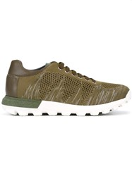 Pollini Lace Up Knit Trainers Green