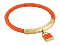 Michael Kors Leather With Foil Logo Padlock Bracelet Gold Orange Bracelet