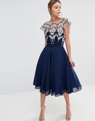 Chi Chi London Chiffon Tulle Prom Dress With Contrast Embroidery Navy Gold