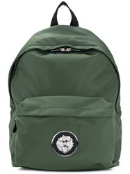 Versus Logo Plaque Backpack Polyamide Calf Leather Polyester Cotton Green
