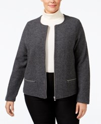 Charter Club Plus Size Wool Sweater Coat Only At Macy's Charcoal Heather