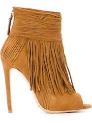 Gianni Renzi Fringed Open Toe Boots Brown