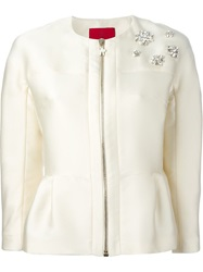 Moncler Gamme Rouge 'Ambre' Cropped Jacket Nude And Neutrals
