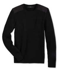 Guess Men's Waffle Knit Sweater Jet Black A996