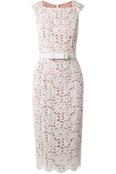 Michael Kors Collection Woman Belted Guipure Lace Midi Dress White