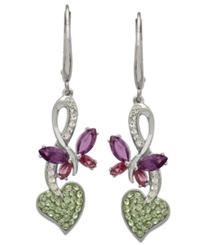 Kaleidoscope Swarovski Crystal Butterfly Drop Earrings In Sterling Silver 2 1 5 Ct. T.W.