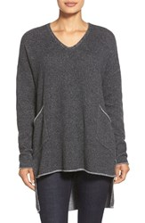 Petite Women's Eileen Fisher Cashmere V Neck High Low Tunic Charcoal