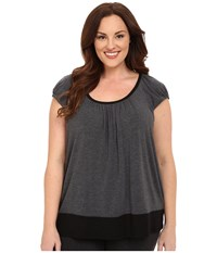 Dkny Plus Size Urban Essentials Short Sleeve Top Heather Coal Women's Pajama Gray