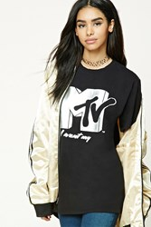 Forever 21 Mtv Logo Graphic Tee Black Silver