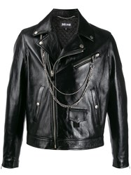 Just Cavalli Leather Biker Jacket 60