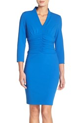 Women's Nydj 'Deanna' Stretch Crepe Sheath Neoprene Blue