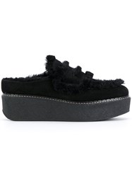 Flamingo's Shearling Trim Platform Loafers Sheep Skin Shearling Suede Rubber 40.5 Black