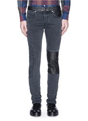 Mcq By Alexander Mcqueen Leather Patchwork Distressed Skinny Jeans Grey