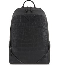 Mcm Luxus Medium Crocodile Embossed Leather Backpack Black