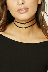 Forever 21 Faux Leather Choker Set Gold Black