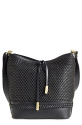 Ivanka Trump 'Briarcliff' Woven Leather Bucket Bag Black