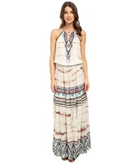 Hale Bob Wearable Art Drop Waist Maxi Dress Taupe Women's Dress