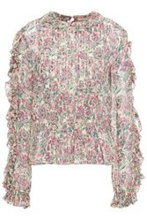 Vanessa Bruno Woman Lina Pleated Floral Print Crepe Blouse Sage Green