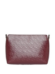 Burberry Medium Monogram Leather Clutch Red