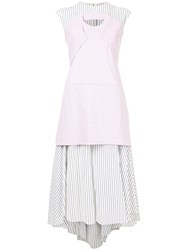 Aganovich Layered Detail Striped Dress Pink And Purple
