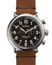 47Mm Runwell Chronograph Men's Watch Black Tan Shinola Silver
