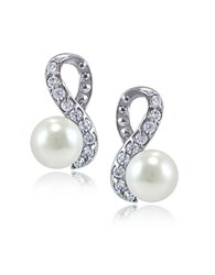 Lord And Taylor Faux Pearl Cubic Zirconia Sterling Silver Swirl Stud Earrings