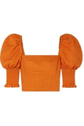 Nicholas Cropped Smocked Gauze Top Orange