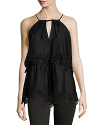 Thakoon Lace Trimmed Layered Halter Top Black
