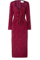 Rebecca De Ravenel Zaza Tie Detailed Printed Silk Crepe Chine Midi Dress Burgundy