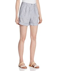 Andrea Jovine Striped Linen Cuff Shorts Compare At 58 Black White