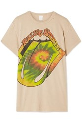 Madeworn The Rolling Stones Distressed Printed Cotton Jersey T Shirt Beige