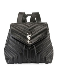 Saint Laurent Loulou Monogram Small Quilted Black Studded Leather Backpack