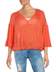 Free People Knit V Neck Blouse Red