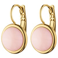 Dyrberg Kern Round Drop Hook Earrings Rose Quartz