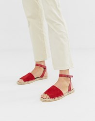 South Beach Red Ankle Strap Espadrilles