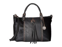 American West Cow Town Large Zip Top Convertible Satchel Black Black Hair Satchel Handbags