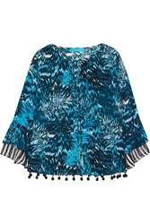 Matthew Williamson Pompom Embellished Printed Silk Crepe De Chine Top Petrol
