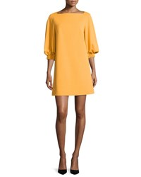 Tibi Crepe Boat Neck 3 4 Sleeve Shift Dress Orange