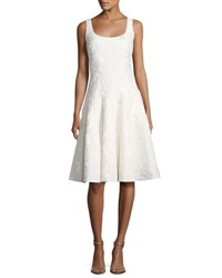 Carmen Marc Valvo Sleeveless Floral Jacquard Fit And Flare Cocktail Dress Ivory