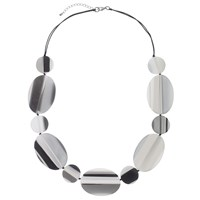 One Button Flat Striped Oval And Circle Discs Necklace Grey Black