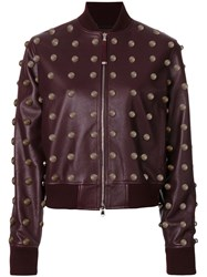 Diesel Black Gold Studded Jacket Women Leather Acrylic Polyester Wool 40 Red