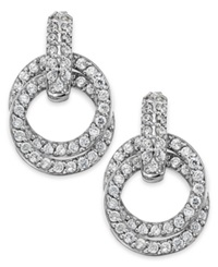 B. Brilliant Cubic Zirconia Pave Eternity Circle Earrings In Sterling Silver