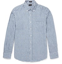 J.Crew Slim Fit Button Down Collar Gingham Linen Shirt Blue
